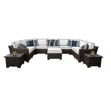 kathy ireland River Brook 12 Piece Outdoor Wicker Patio Furniture Set