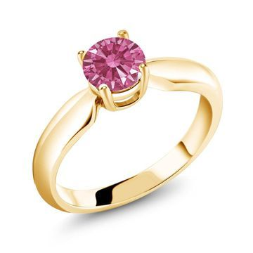 0.84 Ct Red 925 Yellow Gold Plated Silver Ring Made With Swarovski Zirconia