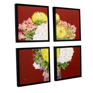 ArtWall Allan Friedlander 'Feeling Happy' 4 Piece Floater Framed Canvas Square Set