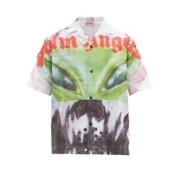 Palm Angels - Alien Cotton-poplin Shirt - Mens - White Multi