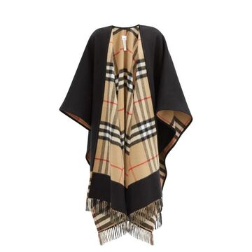 Burberry - Giant-check Cashmere And Wool-blend Cape - Womens - Black Beige