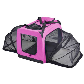 Pet Life Pink 'Hounda Accordion' Metal Framed Soft-Folding Collapsible Expandable Dog Crate