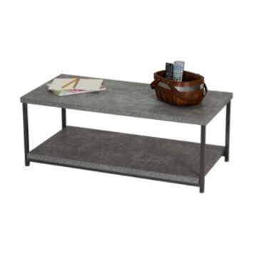 Household Essentials Slate Faux Concrete Coffee Table with Storage Shelf