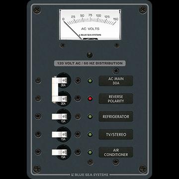 Blue Sea Systems 8043 Std AC 120V 30A Main, 3-15A, Anlg Meter