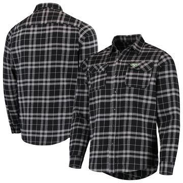 New York Jets Antigua Stance Flannel Button-Up Long Sleeve Shirt - Black/Gray