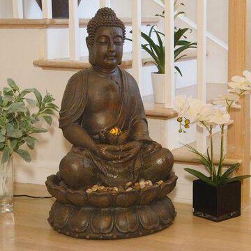 Alpine Corporation Outdoor Meditating Buddha Fountain