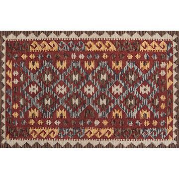 Momeni Tangier Mara Framed Geometric Wool Rug, Red, 5X8 Ft