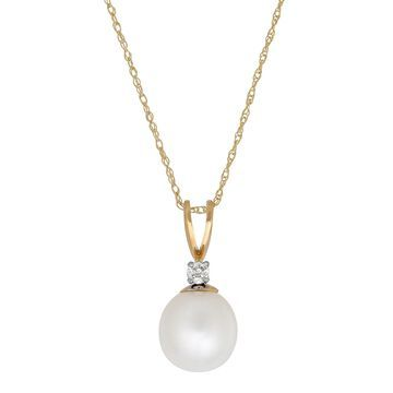 Sofia Sofia Womens Diamond Accent Genuine White Cultured Freshwater Pearl 14K Gold Pendant Necklace