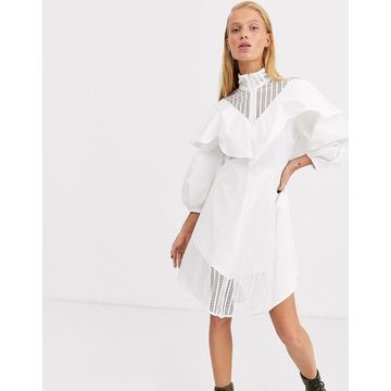 ASOS WHITE lace insert cotton skater dress