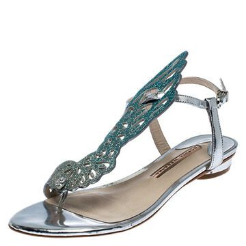 Sophia Webster Blue Ombre Glitter Leather Seraphina Angel Wing Flats Size 36.5