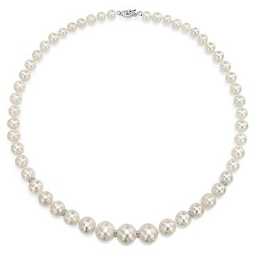 DaVonna Sterling Silver .06tcw Roundel Diamond Graduated White Freshwater Pearl Necklace 18