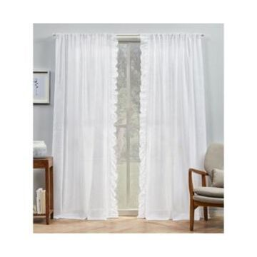 """Exclusive Home Curtains Jacinta Flippable Side Ruffle Sheer Rod Pocket Curtain Panel Pair, 54"""" x 84"""", Set of 2"""