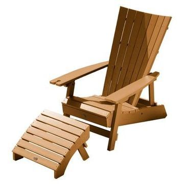 Manhattan Beach Adirondack Chair with Wine Glass Holder and Folding Adirondack Ottoman - Highwood