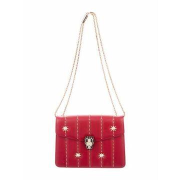Stud-Accented Shoulder Bag Red