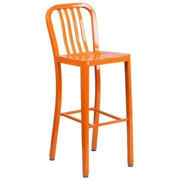 Flash Furniture Orange Bar height (27-in to 35-in) Bar Stool | 889142059912