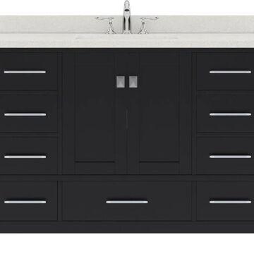 Virtu USA Caroline Avenue 48-in Single Bath Vanity in Espresso with Dazzle White Top and Square Sink in Brown | GS-50048-DWQSQ-ES-NM