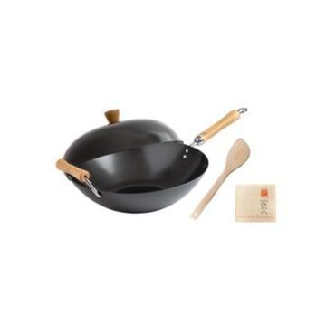 Honey Can Do Joyce Chen Classic Series Carbon Steel Nonstick 4-Pc. Wok Set with Lid and Birch Handles
