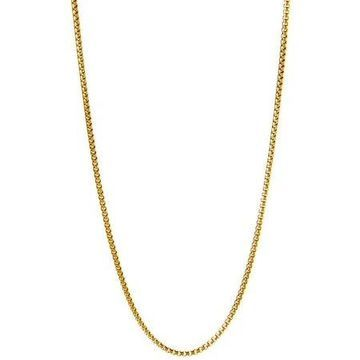 18kt Gold-Plated Sterling Silver 1.8mm Round Box Chain Men's Necklace, 26