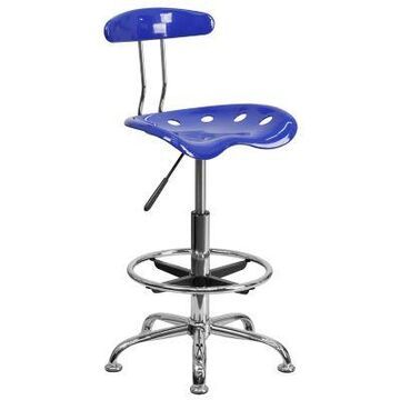 Flash Furniture Drafting Stool with Tractor Seat in Cobalt