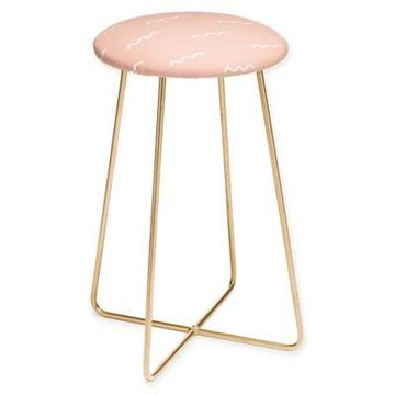 Deny Designs Kelly Haines Peach Squiggle Counter Stool in Pink