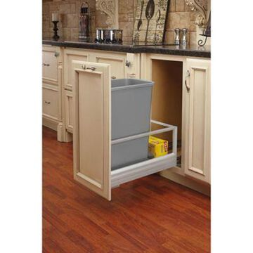 Rev-A-Shelf 5149-1550DM-117 50 qt. Pull-Out Brushed Aluminum/Silver Waste Container w/Rev-A-Motion