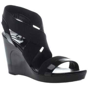 Madeline Women's Poise Wedge Strappy Sandal Black Textile/Synthetic