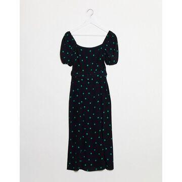New Look square neck belted midi dress in polka dot-Black