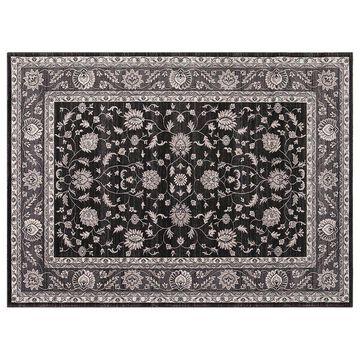 Concord Global Kashan Mahal Framed Floral Rug, Black, 7X9 Ft