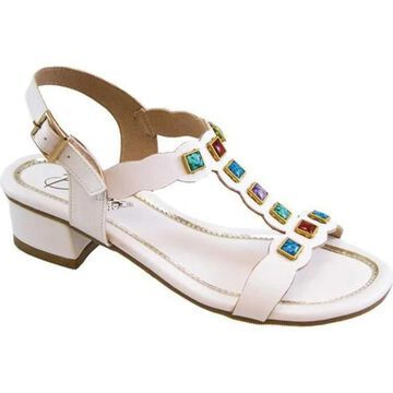 Beacon Shoes Women's Treasure T Strap Sandal White Polyurethane