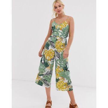 QED London culotte jumpsuit in palm print