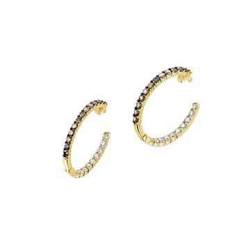 Le Vian 14k Honey Gold Chocolate & Nude Nude Diamonds and Chocolate Diamonds Hoop Earrings