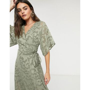 Liquorish burnout wrap dress in khaki-Green
