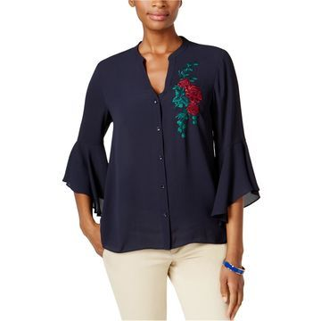 Charter Club Womens Embroidered Button Up Shirt