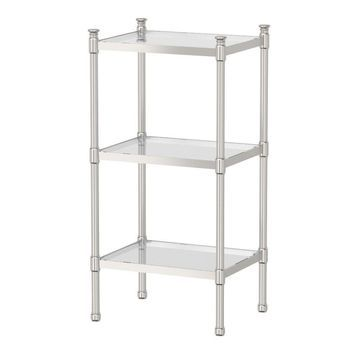 Gatco 1352 Traditional 3-Tier Chrome Rectangle Cabinet - Satin Nickel