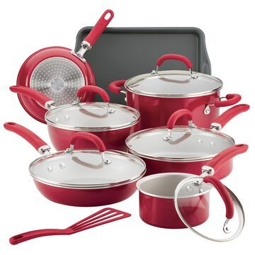 Rachael Ray 13-Piece Create Delicious Aluminum Nonstick Cookware Set, Red Shimmer