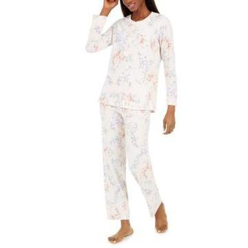 Miss Elaine Women's Floral-Print Brushed Waffle Pajama Set