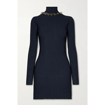 Dion Lee - Chain-embellished Open-back Ribbed-knit Mini Dress - Midnight blue