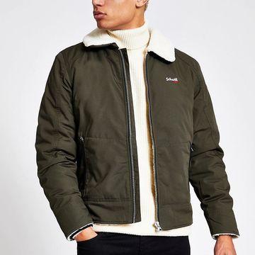 khaki borg collar jacket