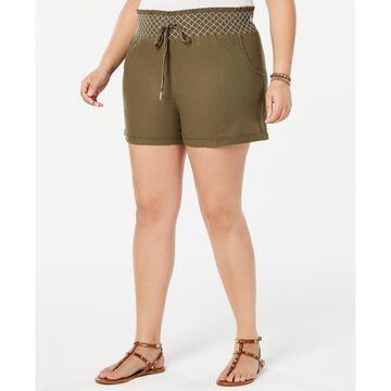 Trendy Plus Size Cotton Smocked Shorts