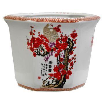Oriental Furniture Cherry Blossom Porcelain Flower Pot
