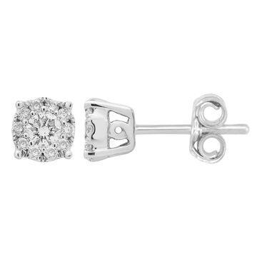 Divina 14k White Gold 1/4ct TDW Diamond Halo Earrings