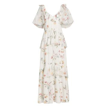 THEIA Floral Embroidered Chiffon Dress