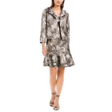 N Natori Metallic Jacquard Flounce Dress