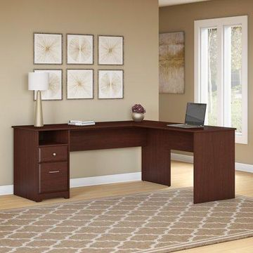 Bush Furniture Cabot L Shaped Desk, Harvest Cherry