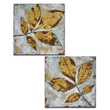 "Ready2HangArt 'Gilded Fall Leaves' Canvas Wall Art, 20x20"""