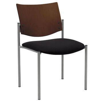 KFI Evolve Guest Chair Armless with a Chocolate Wood Back (navy vinyl)