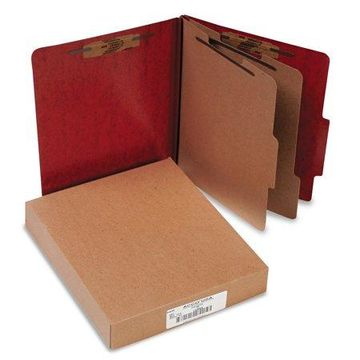 ACCO 20-Pt PRESSTEX Classification Folders, Letter, 6-Section, Red, 10/Box -ACC15006