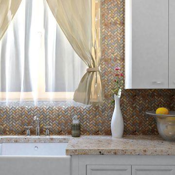 SomerTile 12x12-inch Ridge Herringbone Sunset Slate Natural Stone Mosaic Floor and Wall Tile (10 tiles/10 sqft.)