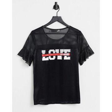 Love Moschino blusa mesh sleeve t-shirt in black