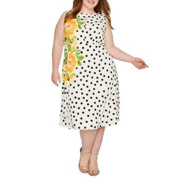London Times Sleeveless Polka Dot Fit & Flare Dress-Plus